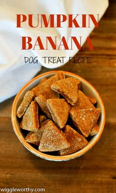 These delicious homemade pumpkin banana dog treats are the perfect way to add a little extra sweetness to your dog's day. A quick and easy recipe that's ready in under thirty minutes. Puppy Treats, Diy Dog Treats, Healthy Dog Treats, Banana Dog Treat Recipe, Dog Treat Recipes, Dog Food Recipes, Baby Recipes, Homemade Dog Cookies, Homemade Dog Food