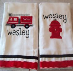 set of 2 personalized burp cloths fire engine by littlemissbirdie, $18.00