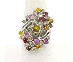 14k Gold Diamond Multicolor Gemstone Cluster Ring Available in the April 27 Auction on hamptonauction.com !!