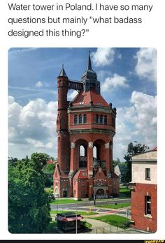 """Water tower in Poland. I have so many questions but mainly """"what badass designed this thing? Stupid Funny Memes, Funny Relatable Memes, Haha Funny, Hilarious, Cool Places To Visit, Places To Travel, Cool Pictures, Funny Pictures, Water Tower"""