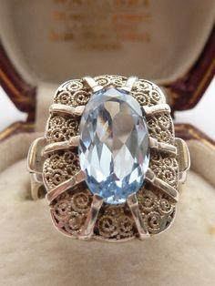 ANTIQUE ART DECO THEODOR FAHRNER BLUE SPINEL & SILVER RING C.1930 UK R US 9 1/2 in