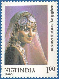 An Indian postal stamp showing a Kashmiri Bride