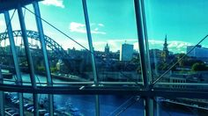 View across the River the Tyne towards Newcastle from the Sage second floor in Gateshead