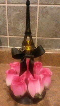 Paris theme centerpiece I created for a Sweet 15. Eiffel tower with an LED light in the center.