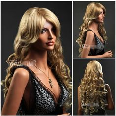 Charming Women's Long Curly Golden Wigs For Women And Ladies Lace Wigs Human Hair Wig Front Lace Wigs