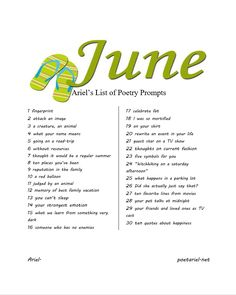 Ariel's List of Poetry Prompts: June 2018. Compiled by Pacific NW poet, Ariel. Ariel also offers a daily poetry prompt at https://poetariel.net/poetry-prompts/