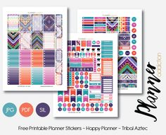 Free Happy Planner Printable Planner Stickers - Tribal Aztec