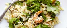 Healthy way with prawns. This triple-tested recipe pairs them with orzo pasta and rocket. Ready quickly in 20 minutes, which makes it ideal for midweek. No Calorie Foods, Low Calorie Recipes, Healthy Eating Recipes, Diet Recipes, Savoury Recipes, Healthy Foods, Recipies, Shrimp Orzo, Fast Food Diet