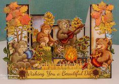 Beary Fun Multi Step Card made w/ Beary Fun Retreat collection from Perfect for and Fun Fold Cards, Pop Up Cards, Folded Cards, Campfire Fun, Side Step Card, Heartfelt Creations Cards, Step Cards, Fall Cards, Holiday Cards
