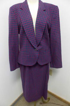 Pendleton Virgin Wool Houndstooth 2 Pc Suit Skirt & Jacket  Made in USA Size 8
