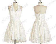 Halter Sweetheart Mini Short Lace White Party Dresses, Cocktail Dresses, Bridesmaid Dresses, Cocktail Dresses, Wedding Party Dresses