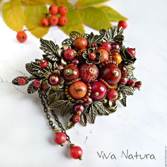 Handmade designer brooch-bouquet with semi-precious stones, seed beads. Red brooch. Costume jewelry Beautiful gift for her for any occasion.