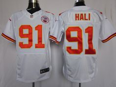 Men's Nike NFL Kansas City Chiefs #91 Tamba Hali White Elite Jerseys