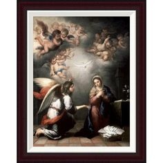 """Global Gallery Annunciation by Bartolome Esteban Murillo Framed Painting Print Size: 26"""" H x 20.36"""" W"""