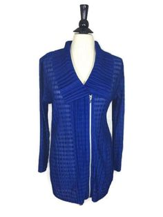 NEW CHICO'S SZ 2 12/14 $129 Travelers Pleated Up Zip Jacket Blue Womens Top NWT #Chicos #Jacket #Casual