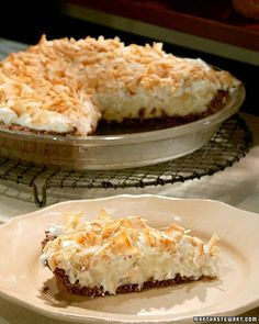 Coconut cream pie gets a boost of flavor from a chocolate crust made with unsweetened shredded coconut.