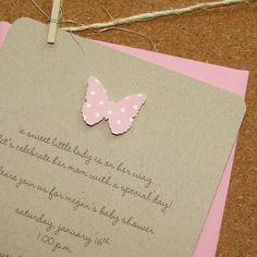 handmade girl baby shower invitations blossom pink butterfly, handmade, 100% recycled kraft cardstock - set of 8