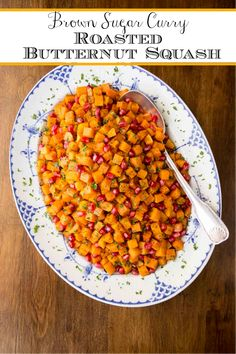 With brown sugar, maple syrup, a touch of curry and a dash of cinnamon this delicious butternut squash dish will be sure to bring rave reviews! #butternutsquash, #thanksgivingside, #roastedbutternutsquash Roasted Butternut Squash, Roasted Carrots, Roasted Vegetables, Thanksgiving Sides, Thanksgiving Recipes, Fall Recipes, Holiday Recipes, Holiday Ideas, Thanksgiving Blessings