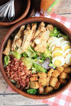 Filled with grilled chicken strips, bacon, egg, and croutons, this salad is an amazing one-bowl meal!