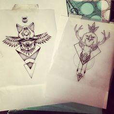 Workin on sunday night #tattoo #tattoosofig #inked #ink #igerslyon #picoftheday #totem #bodyart #drawing #fox #owl #eagle #deer #dotwork