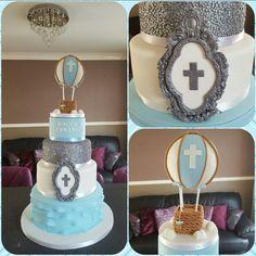 Christening cake with hotair balloon