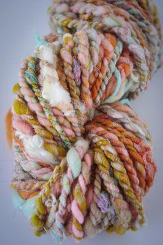 Fall Flowers/ Handspun Art Yarn/ Corespun Yarn/ Merino and Sari Silk/ 2 Ply Loom Knitting, Easy Knitting, Yarn Inspiration, Spinning Yarn, Yarn Stash, Yarn Brands, Fall Flowers, Knit Or Crochet, Renewable Energy