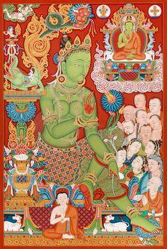 Green Tara thangka by Mukti Singh Thapa at Mahakala Fine Arts