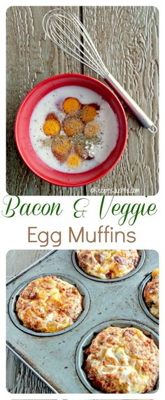 Breakfast Egg muffins are a super easy and fast breakfast option. They are very simple to prepare and make a great breakfast on the go. Breakfast Options, Breakfast On The Go, Breakfast Recipes, Veggie Egg Muffins, Super Easy, Bacon, Curry, Food And Drink, Veggies