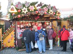 A stand selling lebkuchhen at the Dresden main Christmas market.