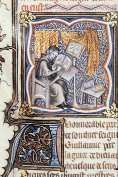 Peter Comestor at work  Guyart des Moulins, La Bible historiale complétée (Genesis - Psalms)  France, Central (Paris?); 1357