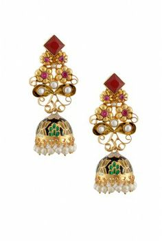The silver flower jhumki is decorated with stones and the famous art of Rajasthan- meenakari. Tribal Jewelry, Indian Jewelry, Silver Jewelry, Designer Silver Jewellery, Bridal Jewellery, Bollywood Jewelry, Oxidised Jewellery, Famous Art, Silver Flowers