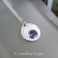Iolite Sterling Silver Pebble Pendant - Rustic and Textured - Handmade Metalwork Gemstone Necklace - Organic Jewellery Jewelry