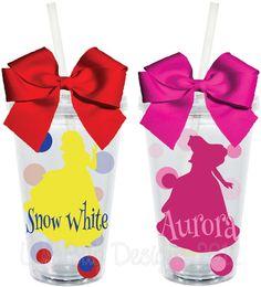 Sooooo cute for a princess party cor all princess guests!! Cinderella Disney Princess Inspired16oz by LylaBugDesigns on Etsy, $15.00