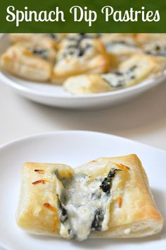 Spinach Dip Pastry Bites - An easy appetizer to throw together with puff pastry for the golden, flaky crust! {The Love Nerds} #appetizer #partyfood
