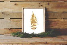 Fern Print, Gold Fern Art, Plant Decor, Printable Art, Wall Prints, Gold Wall Decor, Instant Download, Nature Download, Leaf Printable