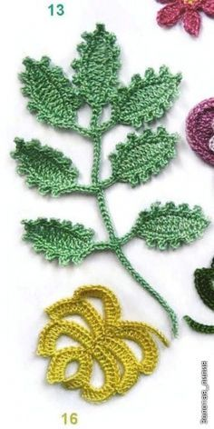 Irish crochet leaves with charts