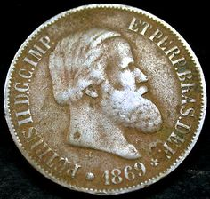 1869 BRAZIL 20 Reis SCARCE Old Coin NEAT!