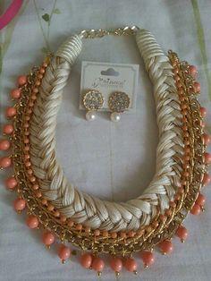 Collar trenzado con cadena y piedras