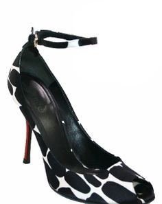 007f8abcc0f3 Black and White Satin Print Heels with isolated Red Heel.