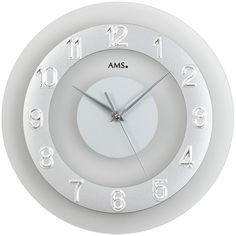 AMS 9352 Wanduhr Quarz Mineralglas aufgelegter silberfarbene Zahlenreif A35113