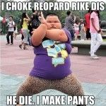 Fat Chinese Kid Chokes A Leopard