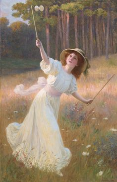 """A Game of Diabolo"" by Leopold-Franz Kowalski. Undated (likely late 19th century), oil on canvas. Substantial in size at approximately 73"" x 49"". I know nothing about this artist but this is a very pretty painting. In a different mood the use of pink for sunlighting might strike me as a bit twee. Auctioned 9 May 2014 at Sotheby's NY. Pre-auction estimate: $25,000 to $35,000. Auction results list indicates the painting was ""withdrawn, passed or unsold""."