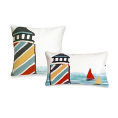 Liora Manne Outdoor Throw Pillow Collection in Lighthouse - BedBathandBeyond.com