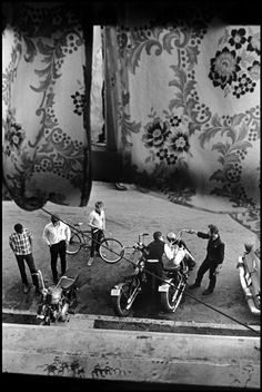 by Danny Lyon:  From Lindsey's room. Louisville, Kentucky, 1966. From The Bikeriders.