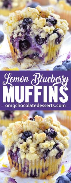 Blueberry Lemon Muffins are a delicious breakfast choice on a spring or summer day. The bright tang of lemon zest and juice mingled with sweet blueberries makes these muffins worth waking up for - Oh My Goodness Chocolate Desserts Easy Blueberry Muffins, Lemon Muffins, Blue Berry Muffins, Lemon Blueberry Cakes, Blueberry Muffin Recipes, Blueberry Bread, Recipes With Blueberries, Easy Blueberry Desserts, Blueberries Muffins