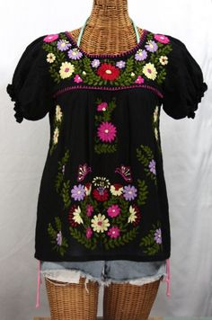 "A timeless classic!  Siren's ""La Mariposa Corta de Color"" Embroidered Mexican Blouse in Black with Hot Pink Trim."