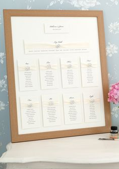 Guide your guests effortlessly to their tables with a beautiful framed seating plan. Framed seating plans will take up to 12 tables and approx 120 names (the size of each table will depend on how many you have) and will feature your chosen ribbon colour and crystals. Display it on an easel for maximum effect. Framed size 400 x 500mm (16x20)  ♥ HOW TO ORDER Select the card colour Let me know which crystal you would like and what colour ribbon Type / attach your table lists in notes to seller…