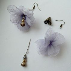 Country over the rainbow: Earrings fabric flowers - tutorial