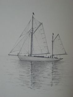 Sailboat Pair of 2 Original Pencil Drawings - Last week at ...