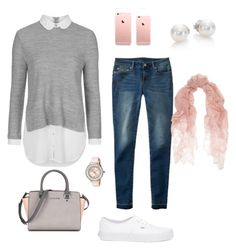 """""""Pink & Gray"""" by katiellew on Polyvore featuring Topshop, Aéropostale, Vans, Valentino, Ted Baker, Mikimoto, women's clothing, women's fashion, women and female"""